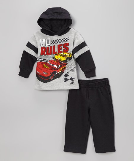 Gray 'No Rules' Cars Pullover Hoodie & Pants