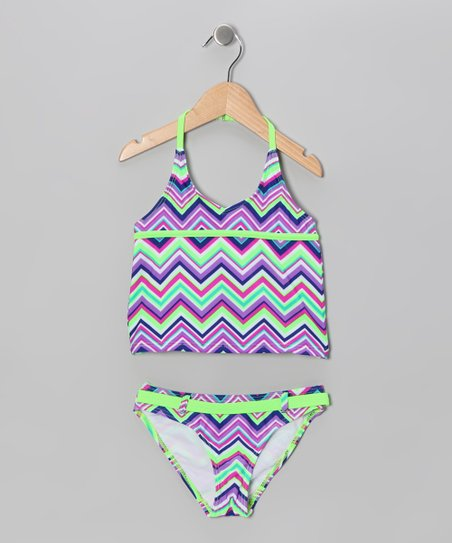 Lime Chevron Tankini - Toddler & Girls