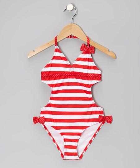 Red & White Stripe Polka Dot Bow Monokini - Girls