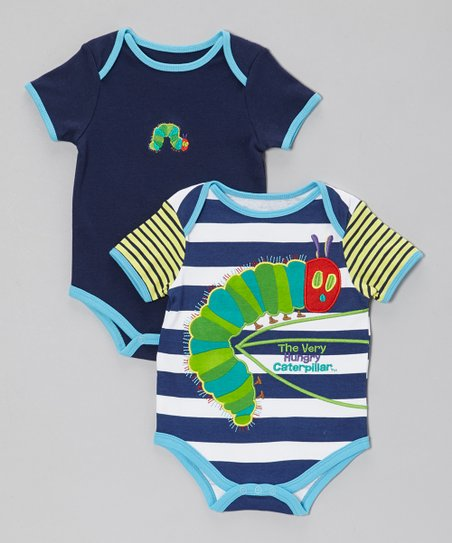 Blue & White Stripe Caterpillar Bodysuit Set - Infant