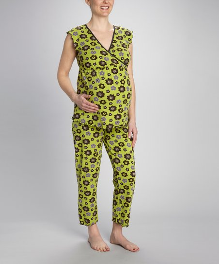 Green Floral Maternity & Nursing Pajama Set