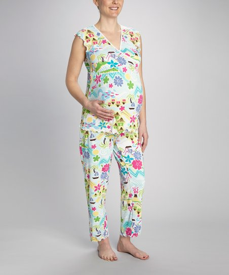 Blue Tropical Maternity & Nursing Pajama Set