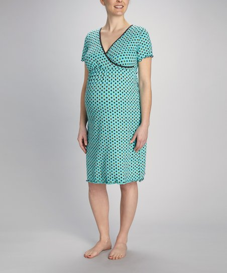 Blue Polka Dot Maternity & Nursing Nightgown