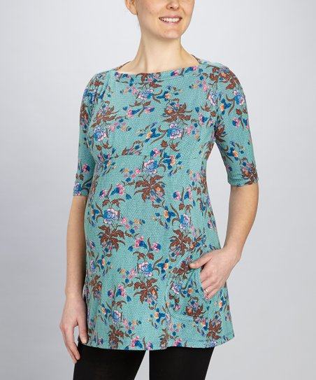 Blue Floral Maternity Tunic