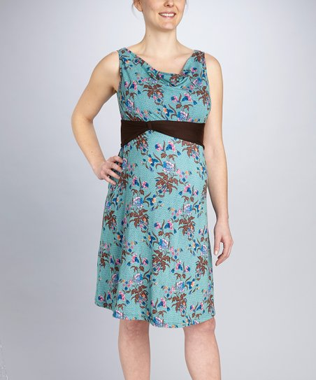 Blue Floral Think Maternity & Nursing Dress