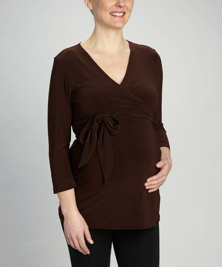 Chocolate Maternity & Nursing Wrap Top