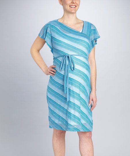 Blue Stripe Tie-Waist Maternity Dress