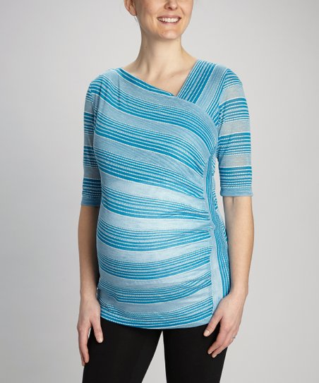 Blue Diagonal Stripe Maternity Top