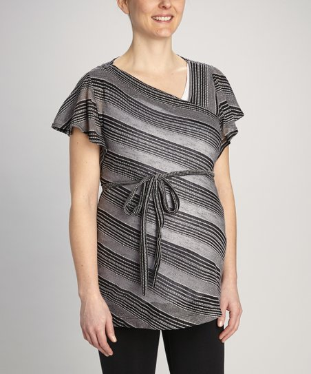 Black Stripe Maternity Angel-Sleeve Tunic