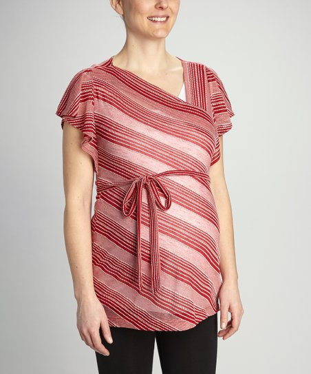 Red Stripe Maternity Angel-Sleeve Tunic