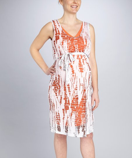 Orange Maternity Burnout Dress