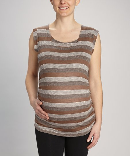 Brown Stripe Drape-Back Maternity & Nursing Top