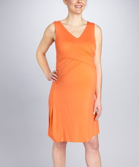 Orange Crisscross Maternity & Nursing Dress