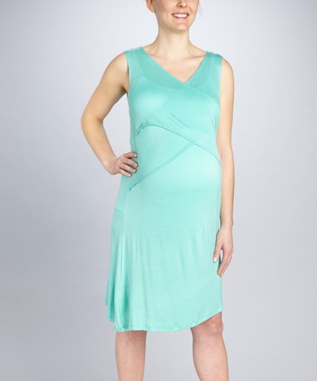 Seafoam Crisscross Maternity & Nursing Dress