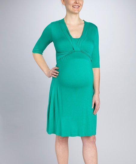 Emerald Drape Maternity & Nursing Dress