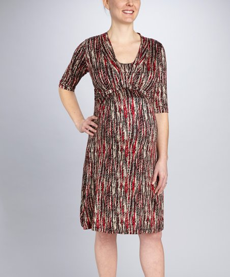 Red Stripe Drape Maternity & Nursing Dress