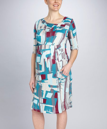 Blue Geometric Pocket Maternity Dress