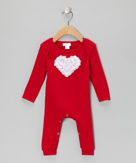 Red & White Heart Playsuit - Infant