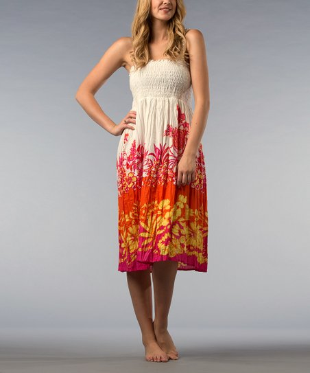 Beetroot Floral Strapless Dress