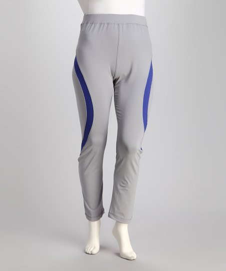 Gray & Neon Blue Yoga Pants - Plus