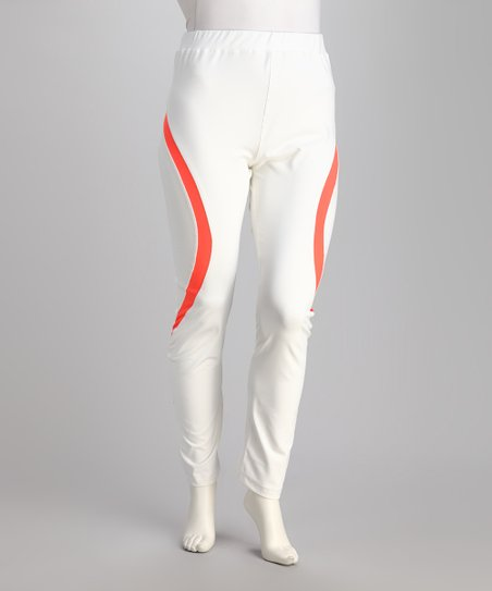 White & Neon Mango Yoga Pants - Plus