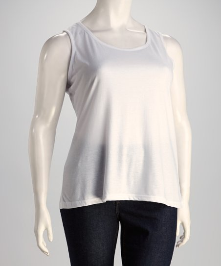 White Sleeveless Top - Plus