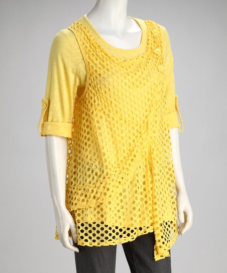Yellow Layered Long-Sleeve Tunic