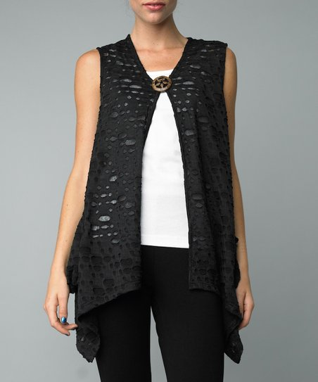 Black Cutout Single-Button Vest
