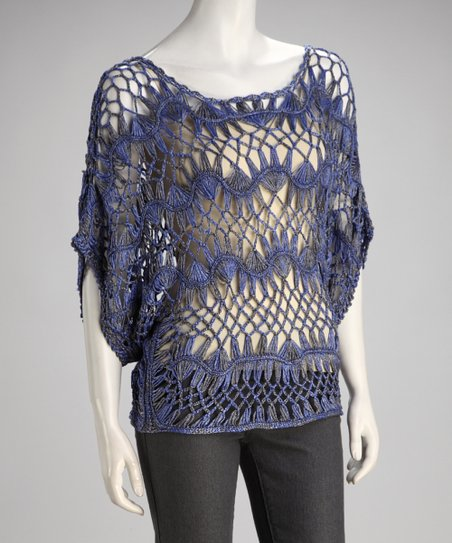 Blue Crocheted Cape-Sleeve Sweater