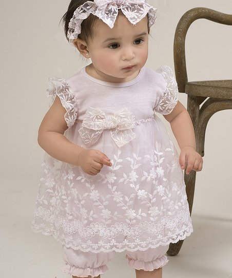 Pink Flower Lace Skirted Romper - Infant
