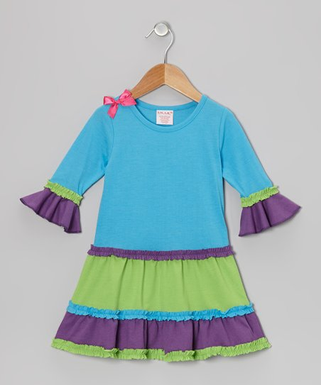 Blue Tiered Ruffle Dress - Toddler