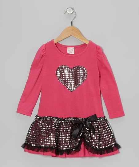 Pink Sequin Heart Dress - Toddler & Girls