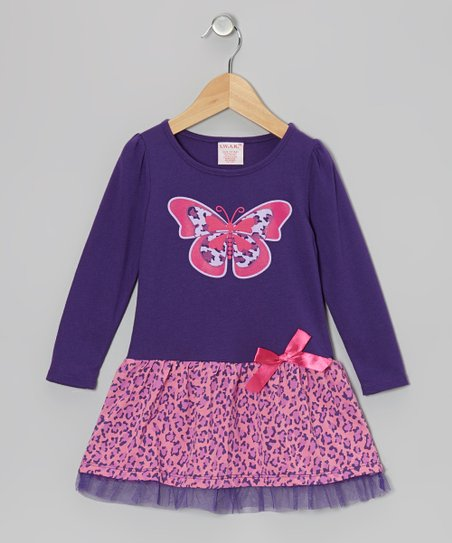 Purple Cheetah Butterfly Dress - Toddler & Girls