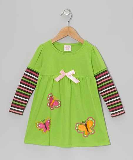 Green Butterfly Layered Dress - Toddler & Girls