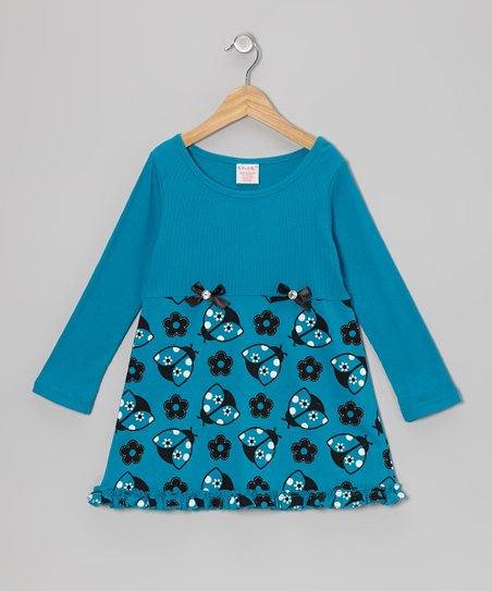 Blue Ladybug Dress - Toddler