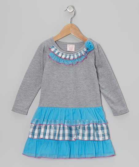 Blue Plaid Tiered Ruffle Dress - Toddler & Girls
