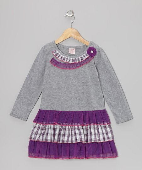 Purple Plaid Tiered Ruffle Dress - Toddler & Girls