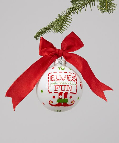 'Elves Just Wanna Have Fun' Glass Ornament