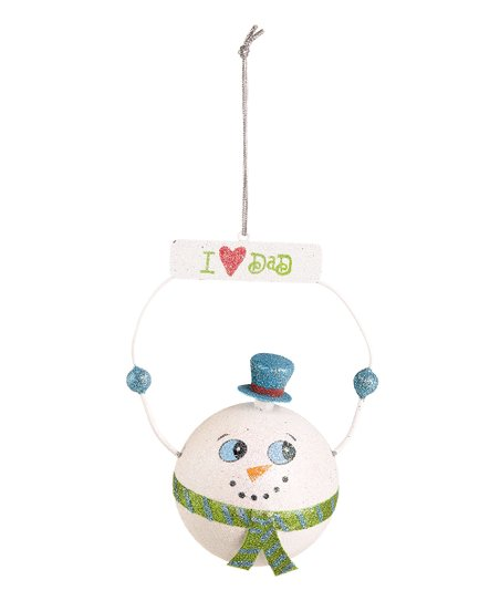 'I Love Dad' Snowman Ornament