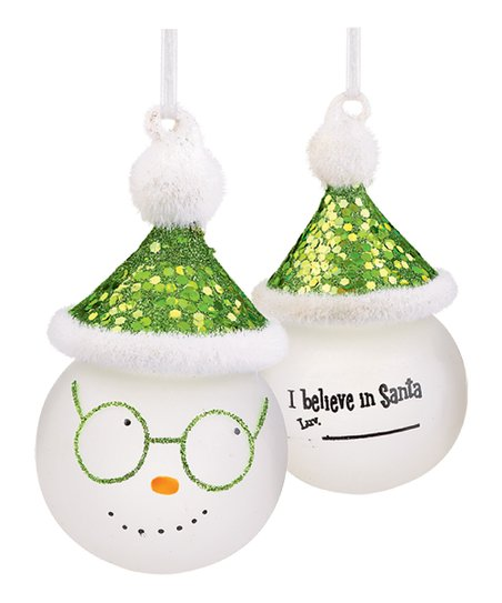 'I Believe in Santa' Marker Snowman Ornament
