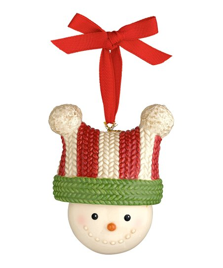 Stripe Hat Snowman Bell Ornament