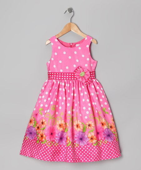 Hot Pink Polka Dot Floral Dress - Girls