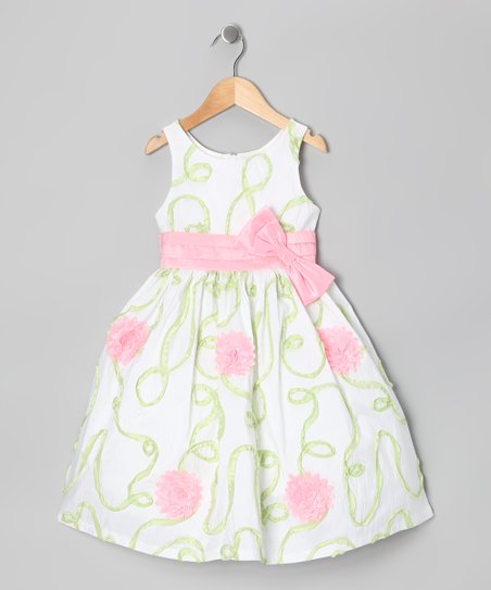 Green & Cream Floral Dress - Girls