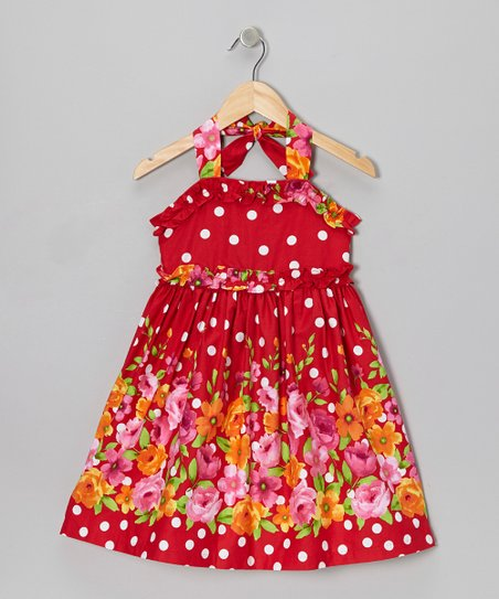 Red & White Floral Halter Dress - Girls