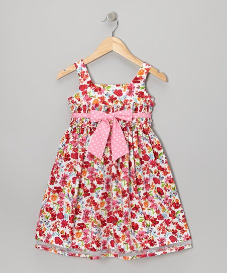 Red & Pink Floral Bow Dress - Girls