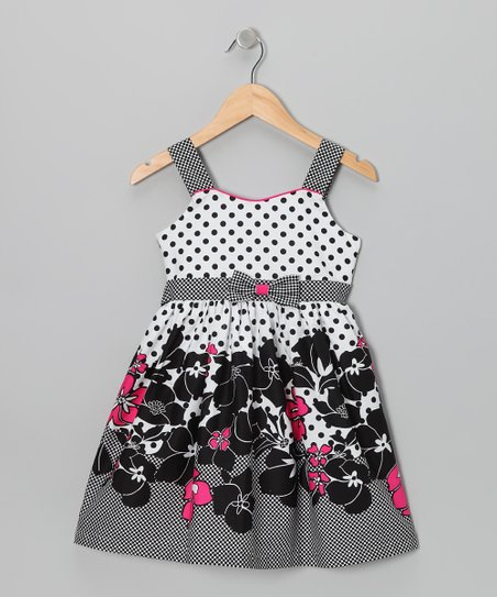 Gray & Fuchsia	Polka Dot Floral Dress - Girls