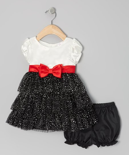 Black & White Tiered Puff-Sleeve Dress & Bloomers - Infant
