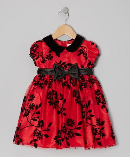 Red Floral Puff-Sleeve Dress - Toddler & Girls
