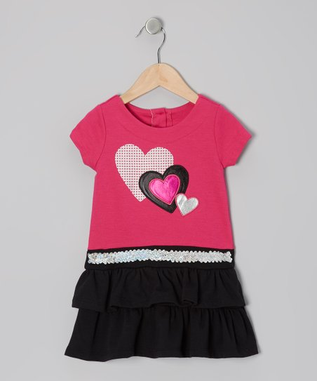 Pink & Black Heart Tiered Dress - Infant, Toddler & Girls
