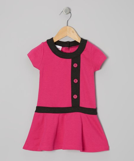 Pink Triple-Button Drop-Waist Dress - Infant